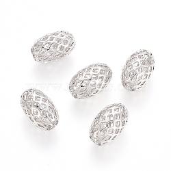 Rack Plating Brass Filigree Beads, Hollow, Oval, Platinum, 12x8mm, Hole: 3.5mm(X-KK-D530-08P)