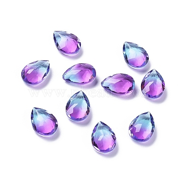 Two Tone Transparent Glass Rhinestone Cabochons, Pointed Back, Faceted, Teardrop, MediumOrchid, 14x10x6mm(EGLA-L022A-05)