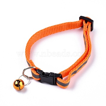 Adjustable Polyester Reflective Dog/Cat Collar, Pet Supplies, with Iron Bell and Polypropylene(PP) Buckle, Orange, 21.5~35x1cm; Fit For 19~32cm Neck Circumference(MP-K001-A06)
