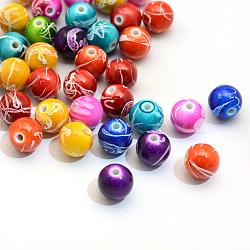 Vaporisez perles peintes rondes acryliques drawbench, couleur mixte, 15~16mm, trou: 3 mm; environ 210 pcs / 500 g(ACRP-S657-16mm-M)