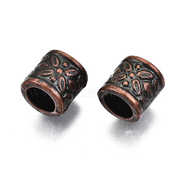 Antique Acrylic Beads, Large Hole Beads, Column with Flower Pattern, Gunmetal, 9x9mm, Hole: 6mm; about 1570pcs/500g(PACR-R218-33R)