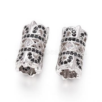 Brass Micro Pave Cubic Zirconia European Beads, Large Hole Beads, Column, Black, Platinum, 15.5x8mm, Hole: 5mm(X-OPDL-L016-03A-P)