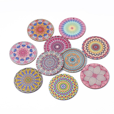 60mm Mixed Color Flat Round Wood Pendants