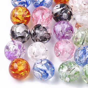 Resin Beads, Imitation Amber, Round, Mixed Color, 8mm, Hole: 2mm(X-RESI-T025-8mm)