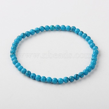 Synthetic Turquoise Stretch Bracelets, Synthetic Turquoise, 60mm(X-BJEW-JB01272-01)