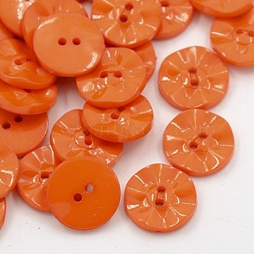 Acrylic Sewing Buttons, Plastic Buttons for Costume Design, 2-Hole, Dyed, Flat Round, DarkOrange, 15x3mm, Hole: 0.5mm(BUTT-E073-C-05)