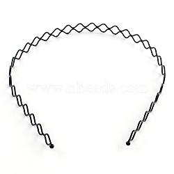 Accessoires de cheveux constatations de la bande ondulée de cheveux de fer, noir, 130mm(OHAR-Q043-06)
