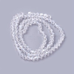 Imitation Crystal Glass Beads Strand, Faceted, Cone, Clear, 4x4mm, Hole: 0.8mm, about 100~110pcs/strand, 16.5~17.5 inches(42~44.5cm)(X-YS-TAC0002-01-4mm)
