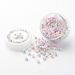 perles acryliques de l'alphabet, cube, couleur mélangée, 6x6x6 mm, trou: 3.2 mm; sur 250 pcs / boîte(MACR-TA0001-01B)