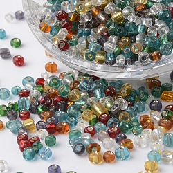 6/0 Silver Lined Round Glass Seed Beads, Mixed Color, 3~4x2.5~4mm, Hole: 1mm; about 700pcs/bag(SEED-P002-14)