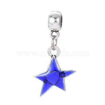 35mm Blue Star Alloy+Enamel Dangle Beads