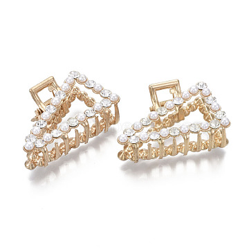 Alloy Claw Hair Clips, with ABS Plastic Imitation Pearl & Crystal Rhinestone, Triangle, Light Gold, White, 50x30x23.5mm(PHAR-T001-07LG)