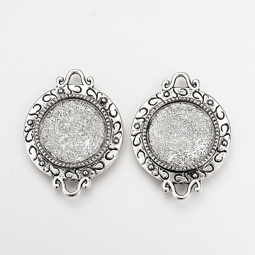 Tibetan Style Alloy Cabochon Connector Settings, Flat Round, Cadmium Free & Lead Free, Antique Silver, Tray: 18mm; 34x26x2.5mm, Hole: 3mm(X-TIBE-Q077-02AS-RS)