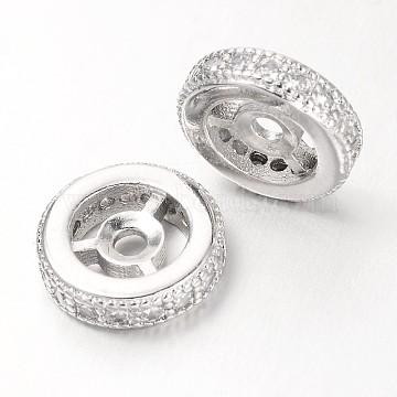 Steering Wheel Brass Micro Pave Cubic Zirconia Beads, Platinum, 10x3mm, Hole: 1mm(X-ZIRC-D050-P)