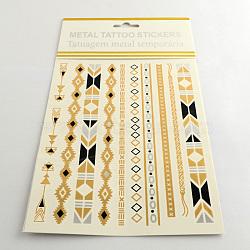 Autocollants en papier métallique de tatouages temporairese en forme mixte amovible d'art corporel cool, couleur mixte, 54~178x5~14 mm; 12 pcs / sac(AJEW-Q081-09)