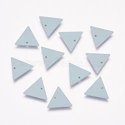 Breloques en laiton peint de pulvérisation, triangle, Aqua, 12x13.5x1mm, Trou: 1mm(KK-P075-34E)