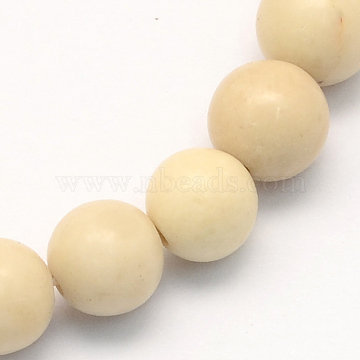 Natural Fossil Round Beads Strands, 10.5mm, Hole: 1.2mm; about 36pcs/strand, 15.7 inches(G-S171-10mm)