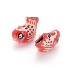 Perles de porcelaine imprimées manuelles, poisson, rouge, 17~19x21~23x10~11mm, Trou: 2.5mm(PORC-E015-14A)