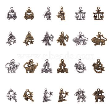 NBEADS Tibetan Style Alloy Pendant Rhinestone Settings, Twelve Constellations, Mixed Color, Fit for 2mm Rhinestone, 20~27x12~25x2~3mm, Hole: 2mm, 12pcs/set, 2sets/color, 4sets/box(PALLOY-NB0001-32)