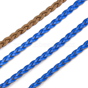 Braided PU Leather Cords, for Bracelet Necklace Jewelry Making, Blue, 5x2mm, about 54.68 yards(50m)/bundle(LC-S018-10F)