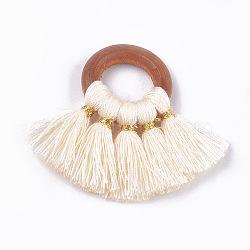 coton pendentif pompon décorations, avec les résultats de bois, fan, Floralwhite, 33~35x40~49x4 mm, trou: 11~12 mm(X-FIND-S298-04)