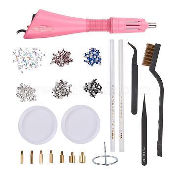 Nail Art Kits, with European Plug Hotfix Rhinestone Applicator Tools, Anti-static Tweezers, Plastic Brush Tools, Rhinestones Picking Tools, Flat Back Glass Rhinestones and Storage Container, Mixed Color, 18x12x5.8cm(DIY-YX0001-02)