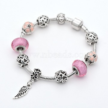 Wing Alloy European Style Beads Bracelets, Resin Beads, with Rack Plating Brass Chain and Findings, 190x3mm, PeachPuff, 190x3mm(BJEW-P049-20A)