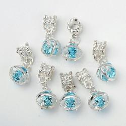 Pendentifs européens en alliage, avec des strass en laiton, argenterie, ovale, zircon bleu, 25.5mm, Trou: 4.5mm(PALLOY-O077-03E)