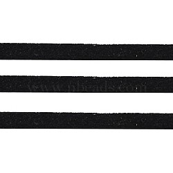 Noir ton daim cordon, dentelle de faux suède, environ 1 m de long,  largeur de 2.5 mm, environ 1.4 mm d'épaisseur, 1 m / chapelet(X-LW14206Y)