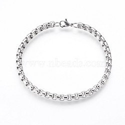 304 Stainless Steel Box Chain Bracelets, with Lobster Claw Clasps, Stainless Steel Color, 8-1/2 inches(21.7cm), 5mm(BJEW-P236-24P)