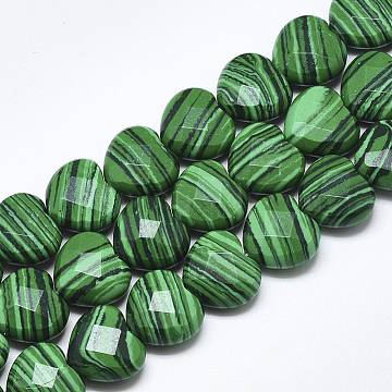 15mm Heart Malachite Beads