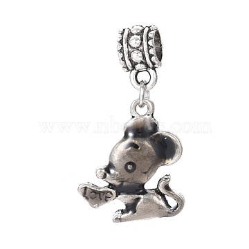 Tibetan Style Alloy European Dangle Beads, with Enamel, Large Hole Pendants, Mouse, Gray, Antique Silver, 31mm, Hole: 5mm, Mouse: 19x16.5x3mm(MPDL-G017-01AS)