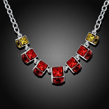 Popular Red Cuboid Resin Rhinestone Bib Necklaces(NJEW-BB00466)-2