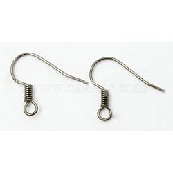 Crochets d'oreilles en laiton de platine , sans nickel  , 17mm, trou: 1.5 mm; broches: 0.7 mm(X-KK-Q363-P-NF)
