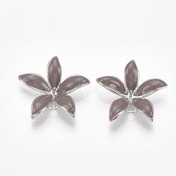 Liens en laiton piquets, pour perle à moitié percée, avec l'émail, fleur, Platine plaqué réel, rosybrown, 23x24x5~6mm, trou: 1~2 mm; broches: 0.8 mm(KK-S350-387C-P)