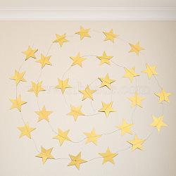 étoile de papier accrochant, pour la décoration de fête de mariage, or, 4 m; étoile: 70x70 mm(AJEW-WH0096-03A-01)