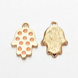 Main en alliage plaqué or léger hamsa main / main de fatima / main de miriam pendentifs pour les bijoux de Bouddha, rose, 23x16x2mm, Trou: 2mm(ENAM-J542-03KCG)