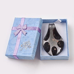 Gros pendentifs en verre argenté manuels, avec du sable d'or, feuille, noir, environ 36 mm de large, Longueur 60mm, Trou: 7mm(X-SLSP306J-6)