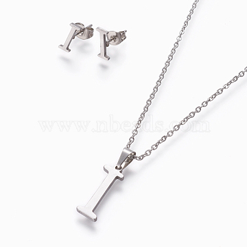 304 Stainless Steel Jewelry Sets, Stud Earring and Pendant Necklaces, Alphabet, Stainless Steel Color, Letter.I, 17.7 inches~18.1 inches(45~46cm); 7.5~10x3.5~12mm; Pin: 0.8mm(SJEW-L141-052I)
