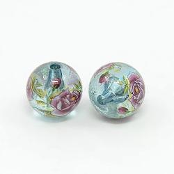 Fleurs imprimées transparentes perles rondes acryliques, paleturquoise, 14mm, Trou: 2mm(X-TACR-O001-B-04F)