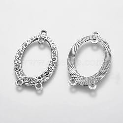 Style tibétain sculptés anneau ovale connecteurs chandeliers, sans cadmium et sans plomb, argent antique, 39x23x3mm(X-TIBEP-EA13625Y-LF)