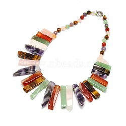 Natural Gemstone Beaded Bib Statement Necklaces, with Spring Ring Clasps, Mixed Stone, 22.8inches(NJEW-P083-07)