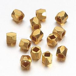 золотой сплав граненый бисер, металлические аксессуары для поделок, 3x3 mm, отверстия: 1.5 mm