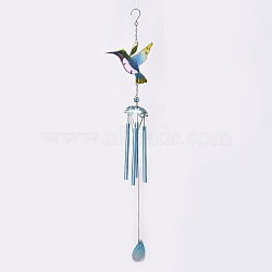 Hummingbird Wind Chimes, with Glass and Iron Findings, for Home, Party, Festival Decor, Garden, Yard Decoration, Colorful, 78cm(HJEW-WH0006-03)