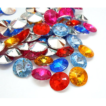 Imitation Taiwan Acrylic Rhinestone Cabochons, Pointed Back & Faceted, Diamond, Mixed Color, 18x7mm; about 200pcs/bag(GACR-A004-18mm-M)