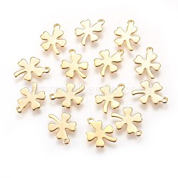 304 Stainless Steel Charms, Four Leaf Clover, Golden, 12x10x0.5mm, Hole: 1.2mm