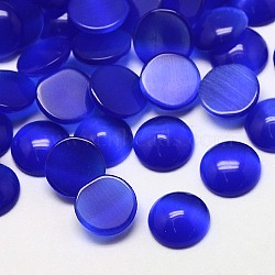 Кабошоны кошачьего глаза, полукруглый, синие, 10x2~3 мм(CE-J002-10mm-03)