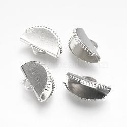 Embout ruban en fer, fan, platine, 10x15mm, Trou: 1.5x3mm(IFIN-I026-02P-B)