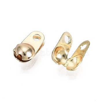 Brass Bead Tips, Nickel Free, Calotte Ends, Clamshell Knot Cover, Real 18K Gold Plated, 6.5x3.5x3mm, Hole: 1.2mm(KK-T056-44G-NF)