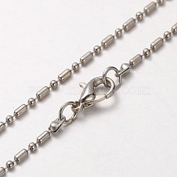 Iron Ball Chain Necklace Making, with Alloy Lobster Claw Clasps and Iron End Chains, Platinum, 29.7 inches(MAK-J004-29P)